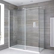 Inloopdouche Combinatie Wit Stabilisatiestangen & Pearlstone Douchebak 160 x 80cm