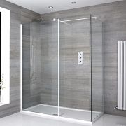 Inloopdouche Combinatie Wit Stabilisatiestangen & Pearlstone Douchebak 170 x 80cm