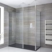 2 - delige Inloopdouche Combi Chroom Bevestigingspaal & Kunststenen Douchebak 140 x 90cm