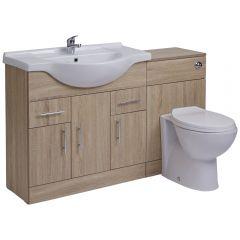 BASIC Wastafelmeubel & Toiletcombinatie 134cm x 85cm x 81cm (ronde uitvoering)