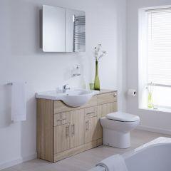 BASIC Wastafelmeubel & Toiletcombinatie 134cm x 85cm x 81cm (gehoekte uitvoering)