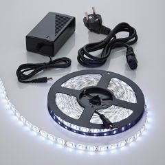 1 x IP20 5050 LED strip verlichting incl Driver & Kabel - 5 meter - Koel Wit