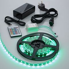 1 x IP20 5050 RGB LED strip verlichting incl Driver, IR Controller & Kabel - 5 meter