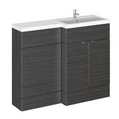 110cm x 35,5cm Modern Zwart Staand Wastafel & Toiletmeubel-combinatie - Rechter Uitvoering