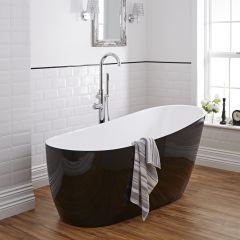 Zwart gekleurd Acryl Vrijstaand Bad 173cm x 78cm x 73cm