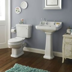 Toilet & Wastafel met Zuil Set 50cm Keramisch & Witte Toiletzitting - Lewis