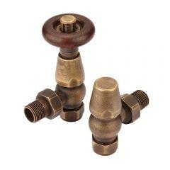 Klassieke thermostatische verchroomde haakse radiatorkranen - Brons