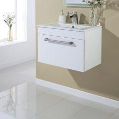 Blanco wit hoogglans hangend Wastafelmeubel met Keramische Wasbak - 60,5cm x 40,9cm