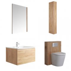 Newington Hangend Wastafelmeubel 60cm met Wasbak - Staand Toilet met Ombouw - Kast en Spiegel  Gouden Eik