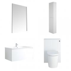 Newington Hangend Wastafelmeubel 80cm met Wasbak - Staand Toilet met Ombouw - Kast en Spiegel  Mat Wit