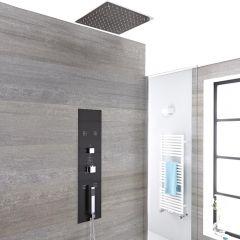 3-weg Inbouw Thermostatisch Douchepaneel Staalgrijs Verzonken Douchekop 40 x 40cm Handdouche en Bodyjets