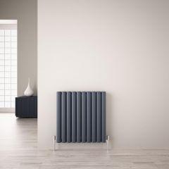 Revive Air Horizontale Aluminium Dubbelpaneel Designradiator 60cm x 59cm x 7,6cm Antraciet 1149Watt