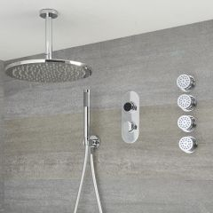 Narus - 3-weg Digitale Thermostaatkraan + d.30cm PlafondDouchekop  + Handdouchecombi & Bodyjets