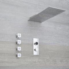 Narus - 3-weg Digitale Thermostaatkraan + Regen en Waterval Douchekop Rond & Bodyjets