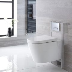 Exton hangend Keramiek Toilet Half Rond incl Inbouwreservoir ( Large) en Keuze Spoelknop