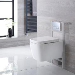 Milton Hangend Keramiek Toilet Vierkant incl Inbouwreservoir ( Small ) en Keuze Spoelknop