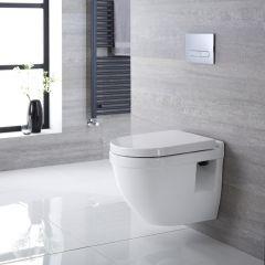 Belstone Hangend Keramiek Toilet Ovaal incl Inbouwreservoir ( Small ) en Keuze Spoelknop