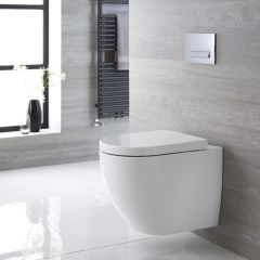 Ashbury Hangend Keramiek Toilet incl WC Bril Ovaal Wit