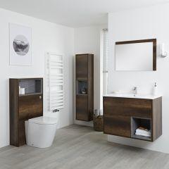Hoxton Badkamermeubel 80cm - Toiletmeubel met Toilet- 150cm Badkamerkast - Spiegel Donker Eiken