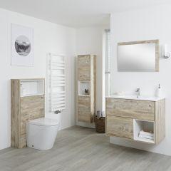 Hoxton Badkamermeubel 80cm - Toiletmeubel met Toilet- 150cm Badkamerkast - Spiegel Licht Eiken