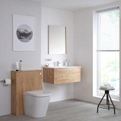 Newington Hangend Wastafelmeubel 80cm Goud Eiken incl. Keramische Wasbak - Toilet Ombouw & Staand Toilet
