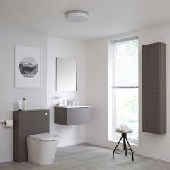 Newington Hangend Wastafelmeubel 60cm met Wasbak - Staand Toilet met Ombouw - Kast en Spiegel  Mat Grijs