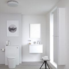 Newington Hangend Wastafelmeubel 60cm met Wasbak - Staand Toilet met Ombouw - Kast en Spiegel  Mat Wit