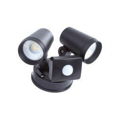 Wels 16W LED Wandlamp Buiten Aluminium Zwart IP65 2 x Spots