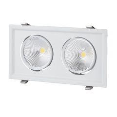 Biard 60W Kantelbare COB LED Inbouwspot met 2 Spots incl Lamp & Driver - Wit