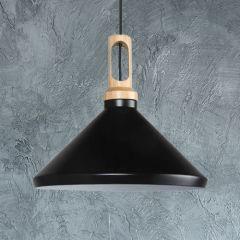 Orlu Hanglamp met Hout Detail E27 Zwart/Wit