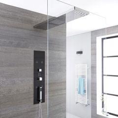 Llis 3-weg Thermostatisch Inbouw Douchepaneel Staalgrijs Douchehemel 90 x 25cm (voor bevestiging douchewand) Handdouche & Bodyjets