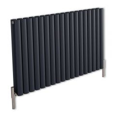 Revive Air Horizontale Aluminium Dubbelpaneel Designradiator Antraciet 60cm x 107cm x 7,6cm 2067Watt