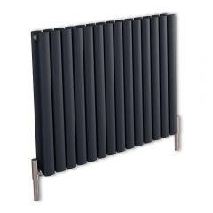 Revive Air Horizontale Aluminium Dubbelpaneel Designradiator Antraciet 60cm x 83cm x 7,6cm 1609Watt
