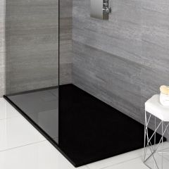 Hudson Reed rechthoekige douchebak met grafieten steeneffect afwerking - 110 cm x 70 cm