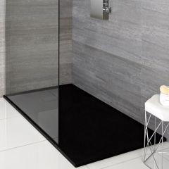 Hudson Reed rechthoekige douchebak met grafieten steeneffect afwerking - 90 x 80 cm