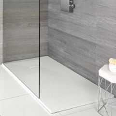 Hudson Reed rechthoekige douchebak met matte witte steeneffect afwerking - 110 cm x 70 cm