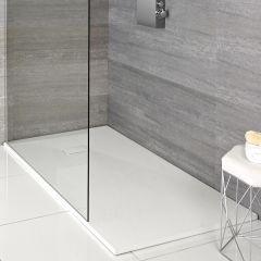 Hudson Reed rechthoekige douchebak met matte witte steeneffect afwerking - 90 x80 cm