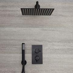 Nox 2-weg Thermostatische Douchekraan Met Omstelkraan & Incl. 30 x 30cm Vierkante Douchekop & Handdouche Combi Zwart