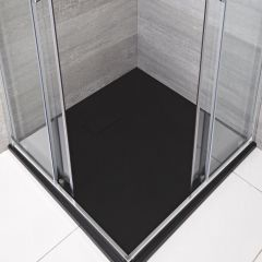 Hudson Reed rechthoekige douchebak met grafieten steeneffect afwerking - 90 cm