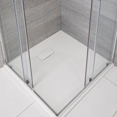 Hudson Reed vierkante douchebak met matte witte steeneffect afwerking 80 x 80 cm