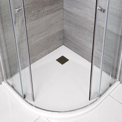 Hudson Reed kwadrant douchebak met matte witte steeneffect afwerking - 90 x 90 cm