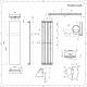 Trevi Designradiator Verticaal Kwarts Mineraal  180cm x 45cm 923Watt