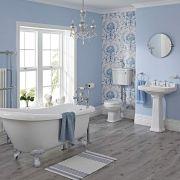 Carlton Complete Klassieke Badkamercombinatie - incl Halfhoog Toilet & Witte Leeuwenpootjes