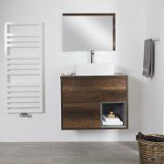 Wastafelmeubel +  1 x Opzetwastafel Wastafel Hangend Donker Eiken 80cm  – incl/excl. LED - Hoxton