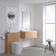 Badkamermeubel Set Hangend 80cm Goud Eiken Incl Wastafelmeubel & Toilet + Stortbak + Ombouw - incl/excl. LED - Newington