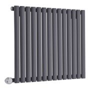 Designradiator Elektrisch met Thermostaat Horizontaal Antraciet 63,5cm x 83,4cm | Revive