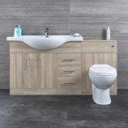 Badkamermeubelset Inclusief Keramisch Toilet Staand Eiken 144cm | Classic Oak