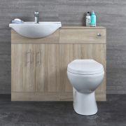Badkamermeubelset Inclusief KeramischToilet Staand Eiken 104cm | Basic