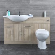 Badkamermeubelset Inclusief Keramisch Toilet Staand Eiken 134cm | Basic