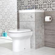 Toilet met Ingebouwde Wastafel 50cm x 89cm Betongrijs   Cluo